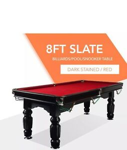 8FT Red Slate Solid Pool Table With Free Bonus Cues and Balls Hobart CBD Hobart City Preview