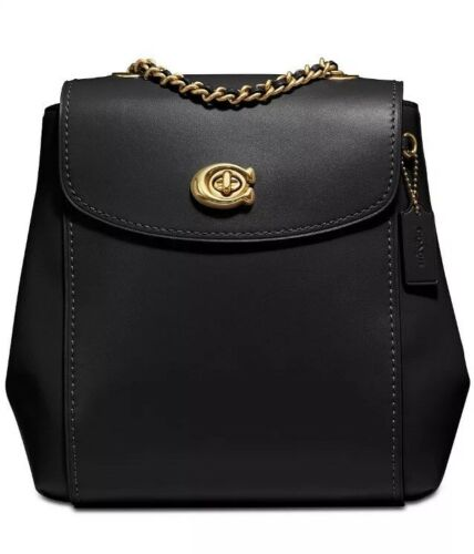 Coach Refined Calf Leather Parker Black Gold Backpack