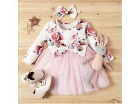 UK Baby Newborn Toddler Tulle Dress with Headband Set