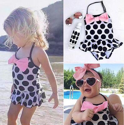 US Toddler Baby Girls Swimwear Costume Swimsuit One-piece Bikini Kids Beachwear ()