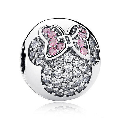 European Silver CZ Charm Beads Fit sterling 925 Necklace Bracelet Chain #050