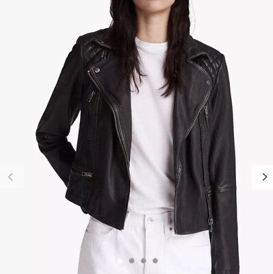 All Saints Distressed Leather Jacket - Size 10 - Worn Once
