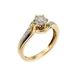 9ct gold 1/4 carat diamond cluster ring.