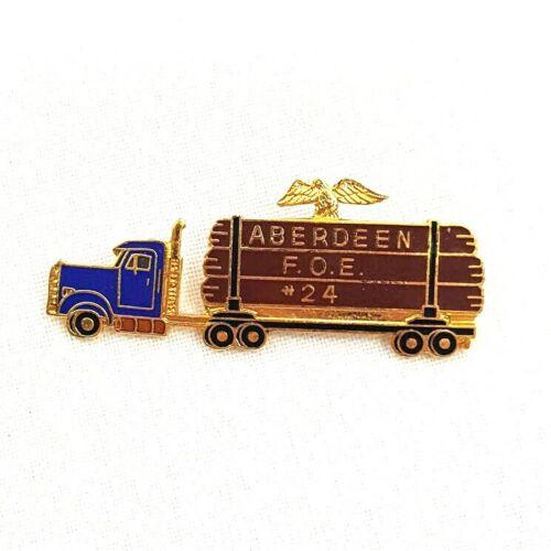 Vintage Fraternal Order Of Eagles FOE Semi Truck Pin #24 Aberdeen WA Brooch