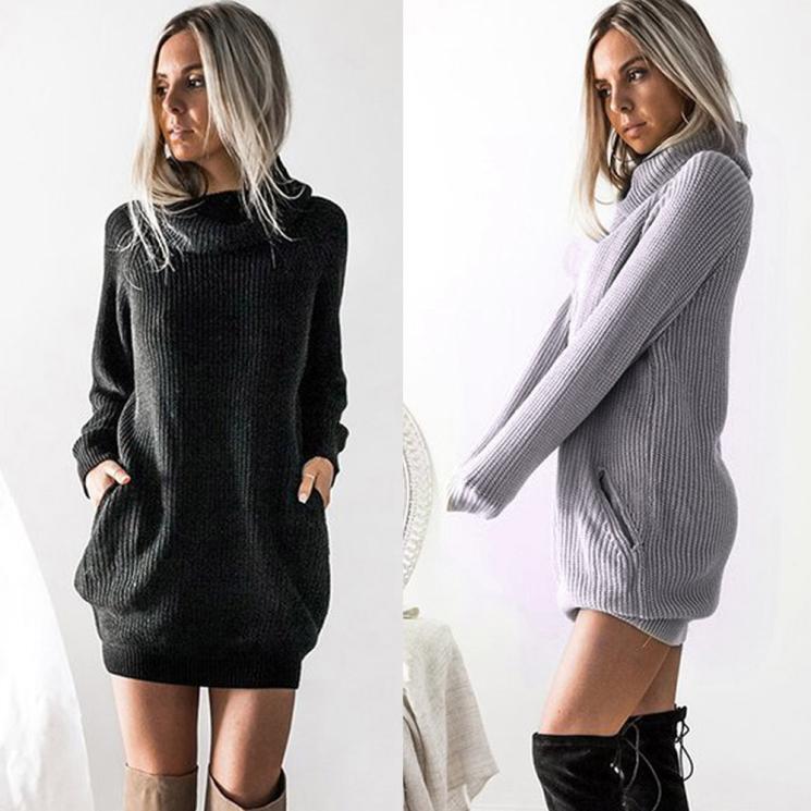 Womens Knitted Dress Roll Neck Jumper Dress Ladies Mini Size