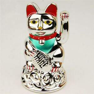 Chinese Lucky Cat Waving Arm Good Luck 4.5
