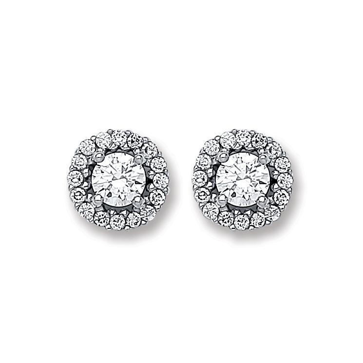 9ct White Gold 6mm Diameter Cz Solitaire Cluster Stud Earrings Wt 1.4G