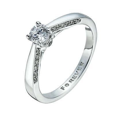 H Samuel 18 Carat White Gold 0.40 Carat FOREVER DIAMOND Ring Size I 3.1g
