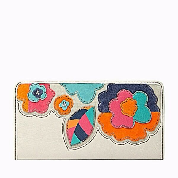 FOSSIL HUNTER CREAM APPLIQUED FLORAL LEATHER ZIP CLUTCH WALLET
