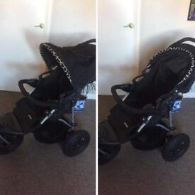Mother care leopard print buggy with car seat for new borns and leg warmer for toddlers