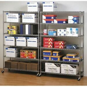Stainless Steel Wire Shelving Rolling Garage Commercial Storage Rack Metal (1)