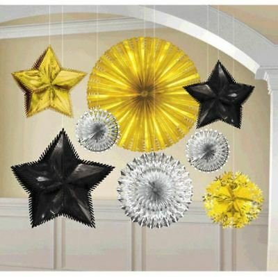 8 Count New Year's Eve Black Silver Gold Foil Starburst Party Decorating Kit ](New Years Eve Party Kit)