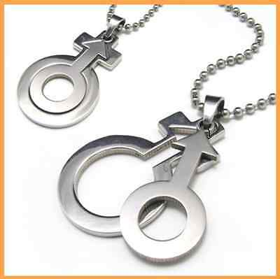 Fashion Jewelry 316L Stainless Steel Female Male Symbol Pendant Unisex Necklace (Male Symbol Pendant)