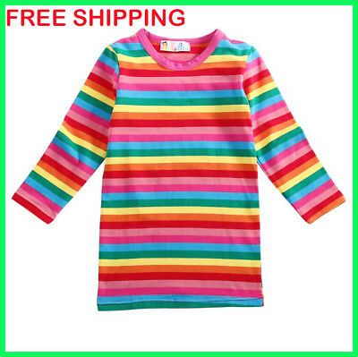 Halloween Costumes 4U Child Kids Rainbow Striped Chucky Good Guy T-Shirt Costume