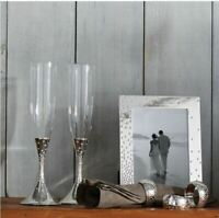 NAMBÉ Dazzle Pave Toasting Flutes- NEW IN BOX. SILVER PLATED $75