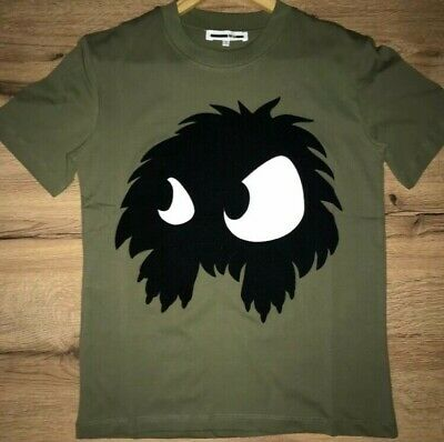ALEXANDER MCQUEEN FLOCKED MONSTER MEDIUM T-SHIRT FELT LOGO KHAKI RARE RRP £130