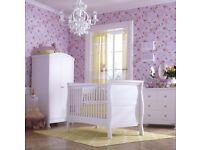 Izziwotnot Bailey Sleigh Cot Bed in White with mattress and under bed drawer.