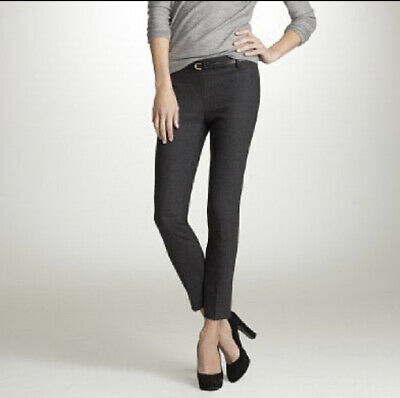 MINT$98 J Crew sz 0 Minnie Ankle Pants Bi-stretch Wool Blend Charcoal Gray Grey