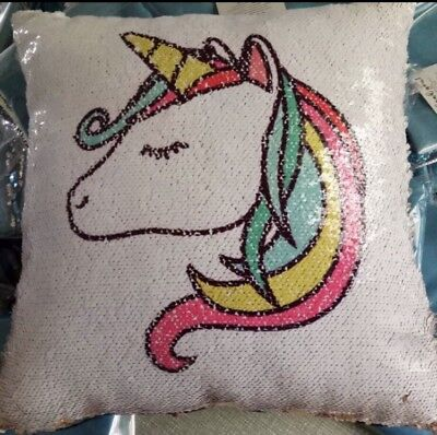 UNICORN Magic Mermaid Cushion pillow Cover Reversible Sequins Hidden unicorn