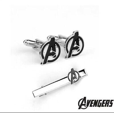 Avengers Tie Clip And Cufflinks Set Marvel - Gift - Fans - Hulk - Stark