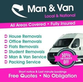 CHEAP MAN AND VAN HIRE £20P/H REMOVAL SERVICES