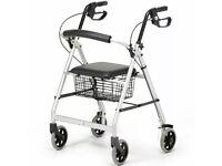 Days 252 Essentials Lightweight Aluminium Rollator with Padded Seat and Undersea
