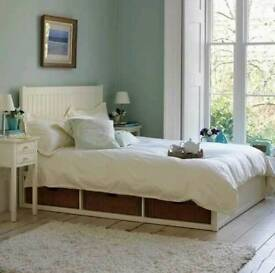 Feather & Black King Size solid wood bed with storage