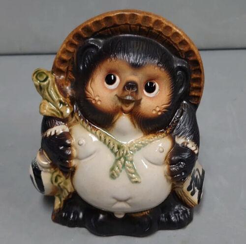 pottery raccoon dog Shigaraki ware Tanuki figurine lucky charm ceramic tanu
