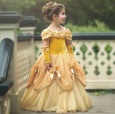 Beautiful Girls Dresses Gowns (Girls Belle Sleeping Beauty Cosplay Princess Dress Costumes Gown Party Dress)