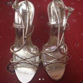 9258b069604 Stylish Chic Miss Selfridge Carmel Jewelled Heeled Strappy Sandal ...