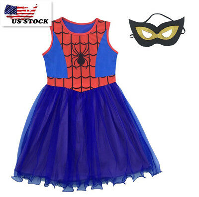 2018 Girls Spider-Girl Dress Kids Blue & Red Spider-man Costume Party + Mask O39