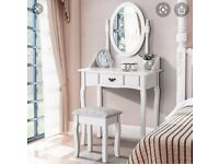 Dressing table and tall standing mirror