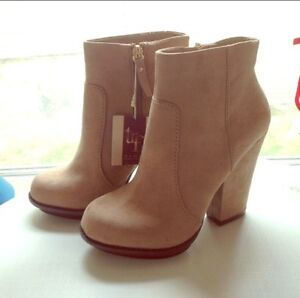Faux Suede, Nude Ankle Boots