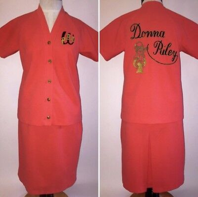 Vintage 1960s Womens Bowling League Uniform Outfit Halloween Costume - 1960s Outfits