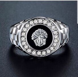 Platinum Silver Versace Style Men's Luxury Ring