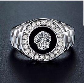 Platinum Silver Versace Style Men's Luxury Ring