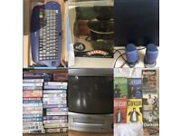 Household carboot items job lot. TV, pans, remote control car, clothes, shoes, pc monitor,