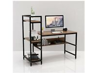 Computer Desk with 4 Storage Shelves Small Spaces Modern Simple Wood Desk with Steel Frame(Walnut)