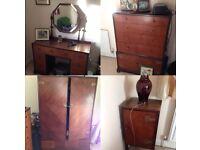 Art Deco Bedroom Furnature Set - Wardrobe, Drawers, Cupboard, Dressing Table