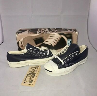 cf23d669aa72 Vtg Converse Jack Purcell Made In USA Leather Shoes Navy Women Size 5 Men