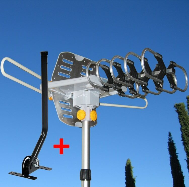 150 MILES OUTDOOR TV ANTENNA MOTORIZED AMPLIFIED HDTV W/ MOUNTING POLE