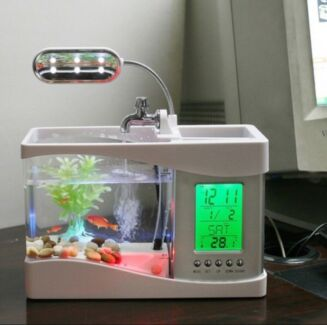 Fish tank with LED light and recirculation of water