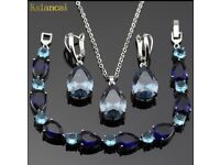 Lan Hot-Selling Choker Stone Blue AAA Zircon Sliver Color Jewelry Sets