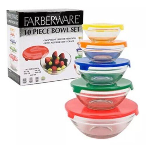 New Farberware 10 Piece Glass Storage Bowl Set Snap Tight Li