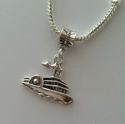 Cruise Ship Paddlewheel Riverboat River Dangle Bead fit European Charm Bracelet