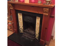 Victorian style cast iron fireplace with beautiful tiles + Antique Pine Surround
