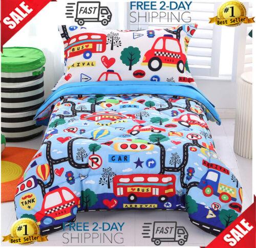 Wowelife Cars Toddler Bedding Set 4 Piece BlueToddler Bed Set with Comforter, Fl