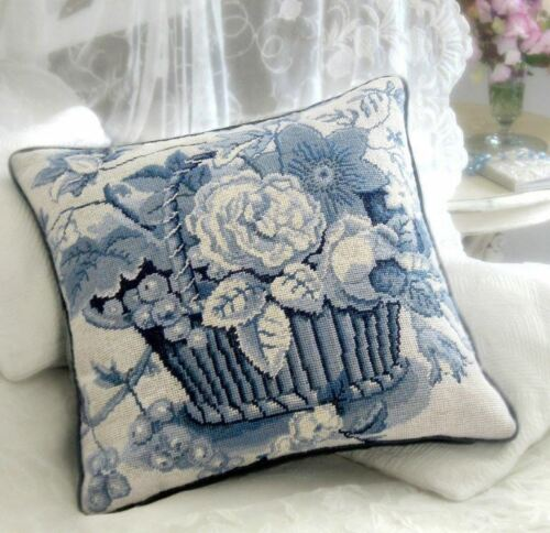 EHRMAN Blue & White Basket KAFFE FASSETT tapestry NEEDLEPOINT kit RARE