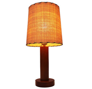 1960s TEAK MID-CENTURY DANISH MODERN CYLINDRICAL TABLE LAMP