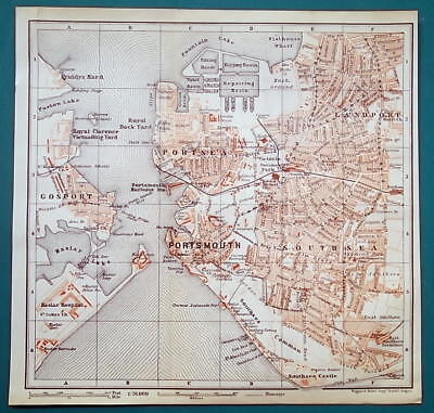 1897 BAEDEKER MAP - ENGLAND Portsmouth City Plan & Chichester Cathedral Plan